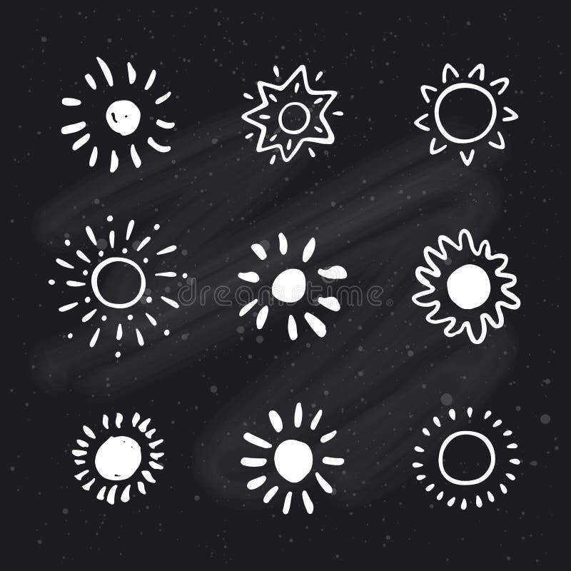 Le soleil tiré par la main Icône de Sun Le soleil stylisé Illustration de vecteur illustration libre de droits