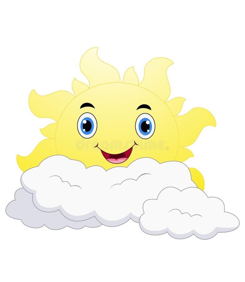 Le soltecknade filmen Emoji vända mot teckenet med lyckligt uttryck vektor illustrationer