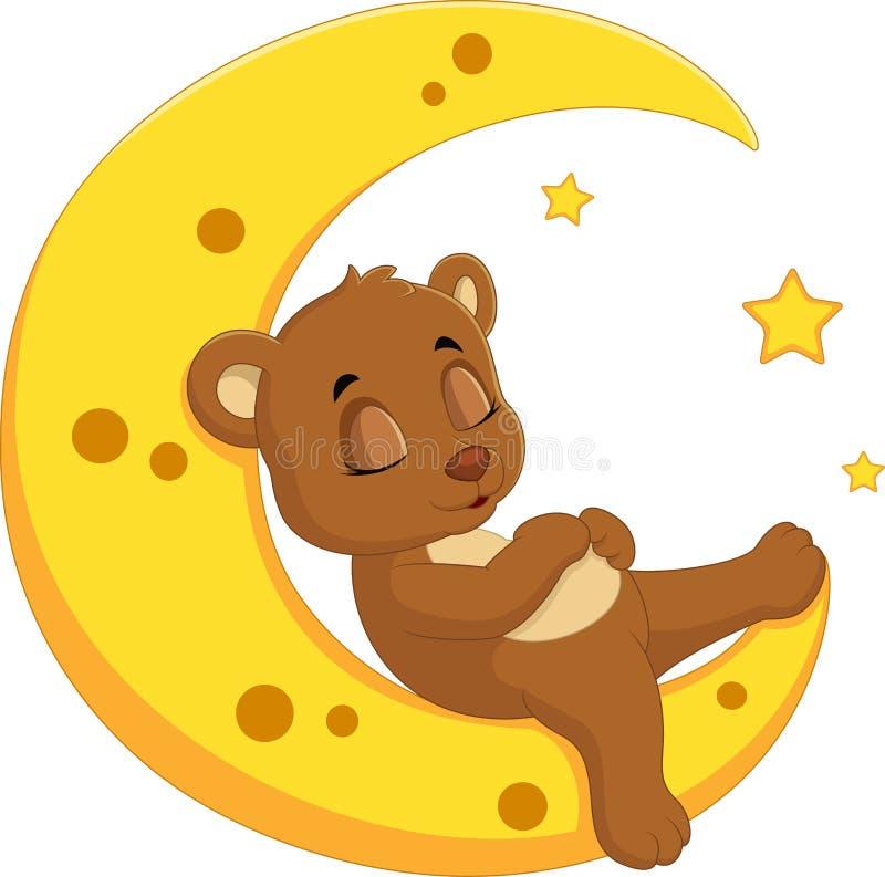 Le sommeil d'ours sur la lune illustration stock