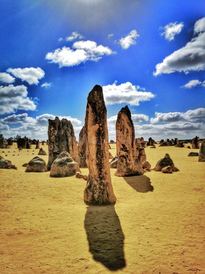 Le sommet Desrt, les formations de chaux dans le parc national de Nambung, images stock