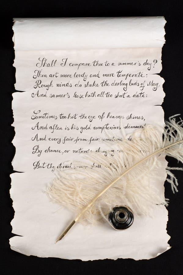 Le sonnet 18 de Shakespeare images libres de droits