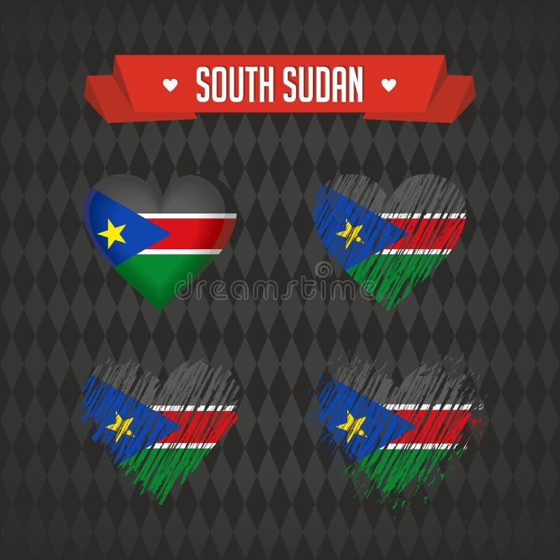 Le Soudan du sud Collection de quatre coeurs de vecteur avec le drapeau Silhouette de coeur illustration libre de droits
