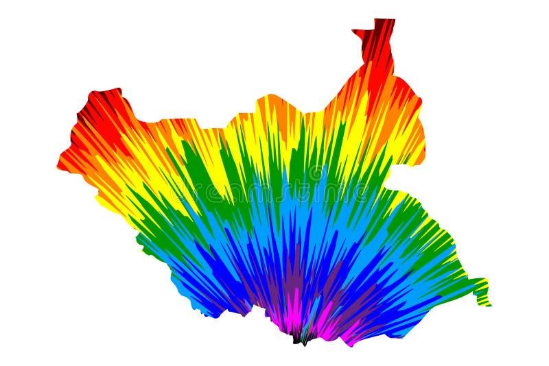Le Soudan du sud - la carte est le modèle coloré conçu d'abrégé sur arc-en-ciel, République de carte du sud du Soudan a fait de l illustration stock