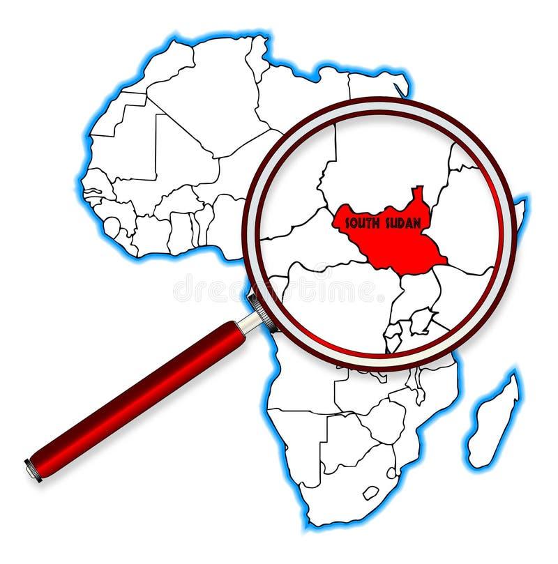 Le Soudan du sud sous une loupe illustration de vecteur