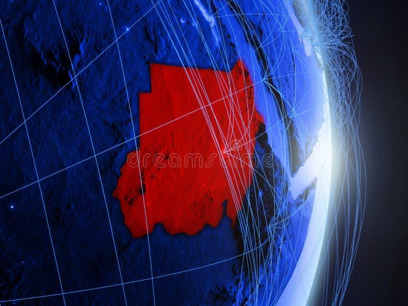 Le Soudan sur la terre numérique bleue bleue photographie stock libre de droits