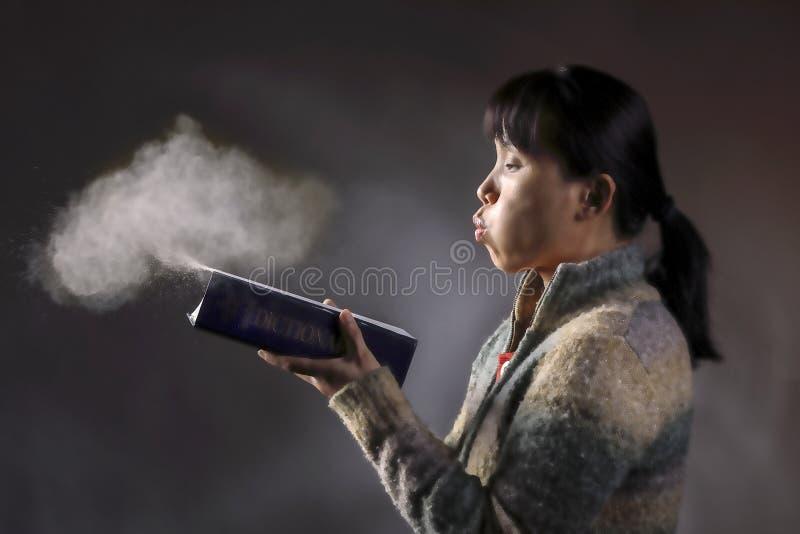 Le soufflement époussettent un livre images stock