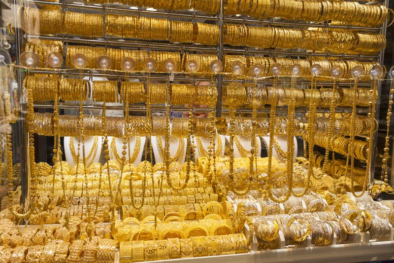 Le souk ou le marché d'or de la ville de Dubaï, Deira Les Emirats Arabes Unis photographie stock