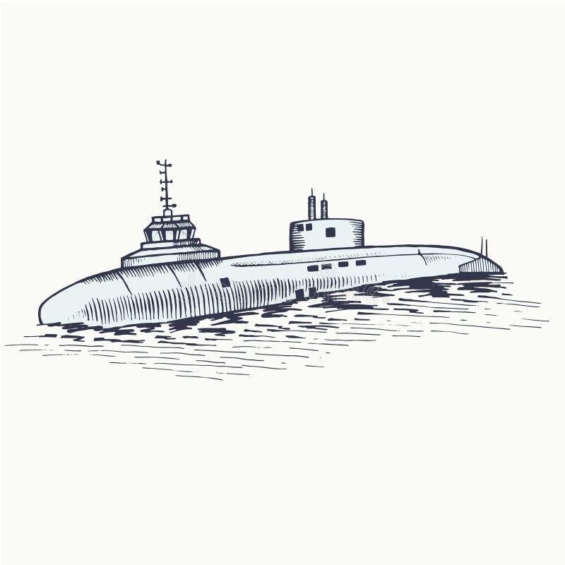 Le sousmarin nucléaire a apprêté des profondeurs de la mer illustration stock