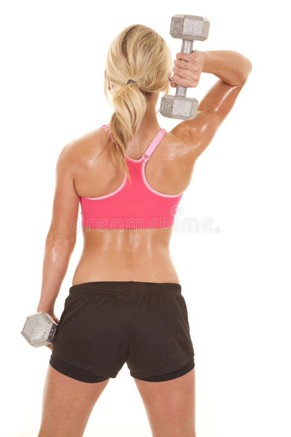 Le soutien-gorge rose de sports de femme pèse de retour un  photo libre de droits