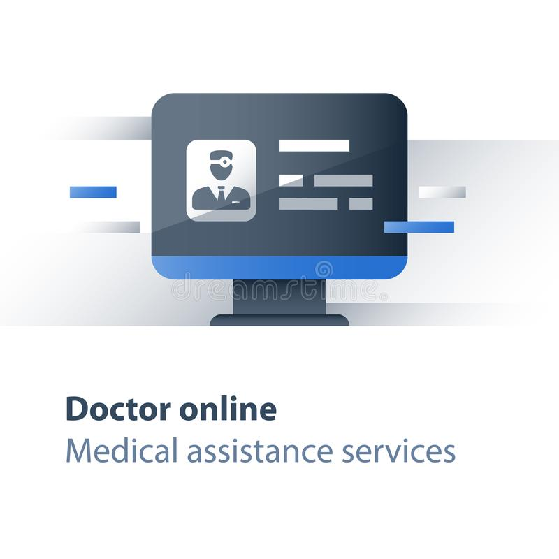 Le spécialiste en soins de santé, soignent le traitement en ligne et éloigné, la maladie consultant, services de Web médicaux, co illustration stock