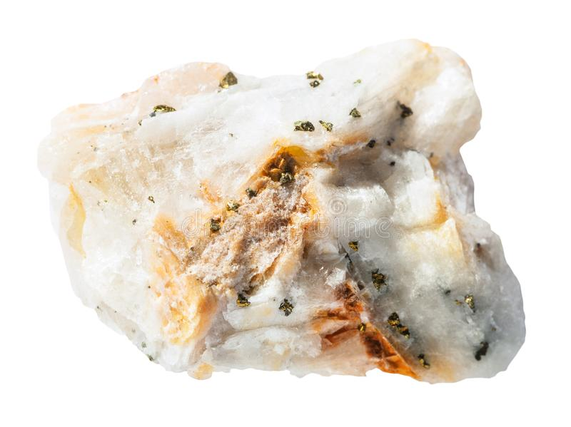 Le spécimen de la roche de quartz avec de l'or indigène rapièce images stock