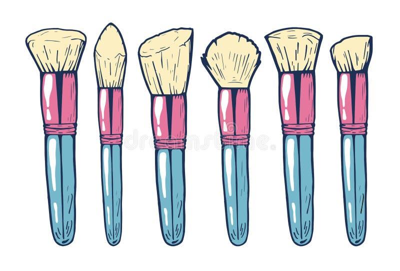 Le spazzole di trucco per arrossiscono, polvere e contornare illustrazione di stock