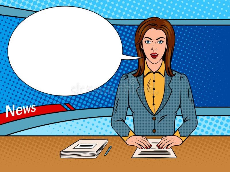 Le speaker lit des actualités sur le vecteur d'art de bruit de TV illustration libre de droits