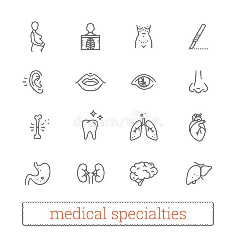 Le specialità della medicina assottigliano la linea icone: diagnosi, medico, chirurgica Organi interni e sensoriali dei sistemi d illustrazione di stock