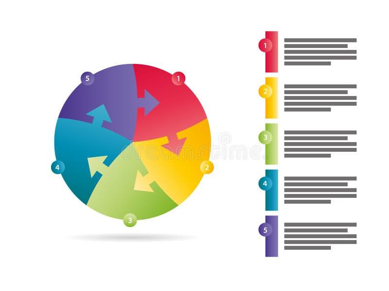 Le spectre d'arc-en-ciel a coloré le calibre infographic dégrossi par cinq de graphique de vecteur de présentation de puzzle de f illustration libre de droits