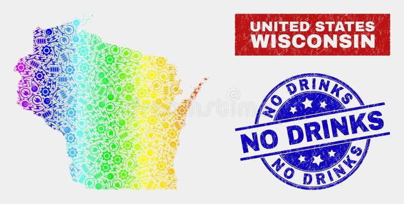 Le spectre entretiennent la carte d'état du Wisconsin et n'ont rayé aucun timbre de boissons illustration stock