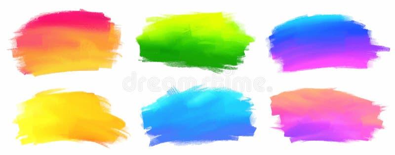 Le spectre vibrant colore des taches de peinture acrylique de vecteur illustration libre de droits