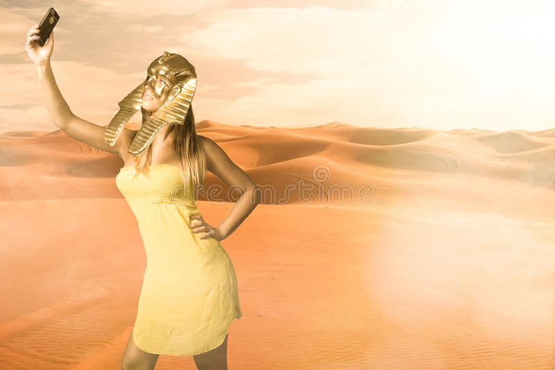 Le sphinx égyptien prennent un selfie photo stock