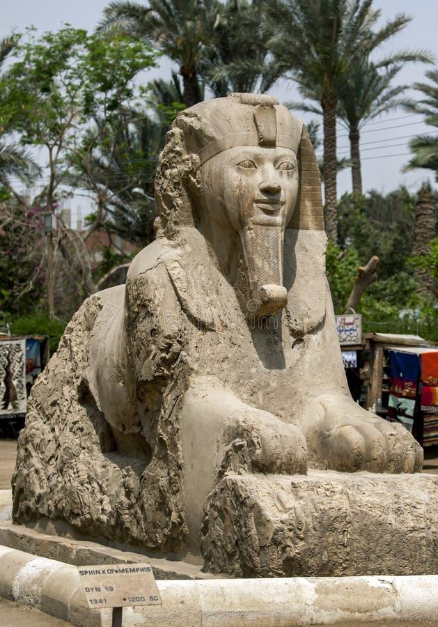 Le sphinx d'albâtre d'Amun-Ofis II à la capitale égyptienne antique de Memphis en Egypte du nord photographie stock libre de droits