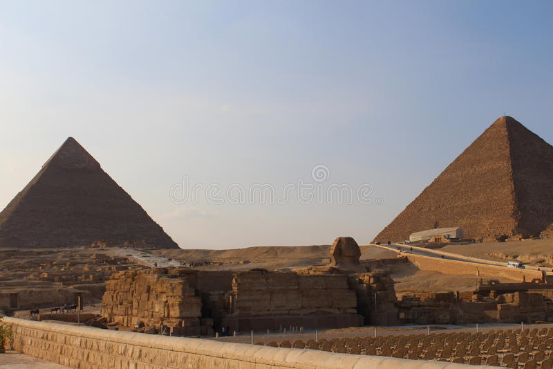 Le sphinx et les pyramides de Gizeh Egypte photographie stock libre de droits
