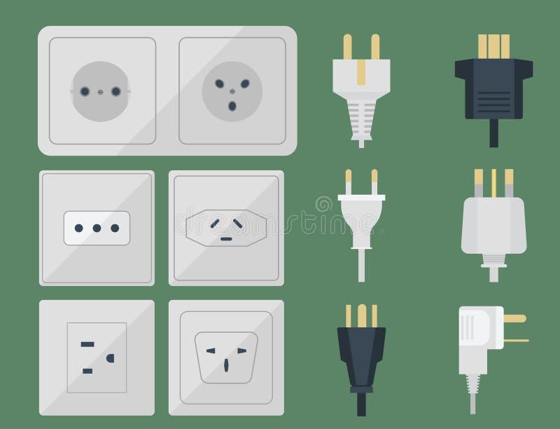 Le spine elettriche impilano l'europeo elettrico delle spine degli sbocchi dell'incavo di energia dell'illustrazione dello sbocco illustrazione di stock