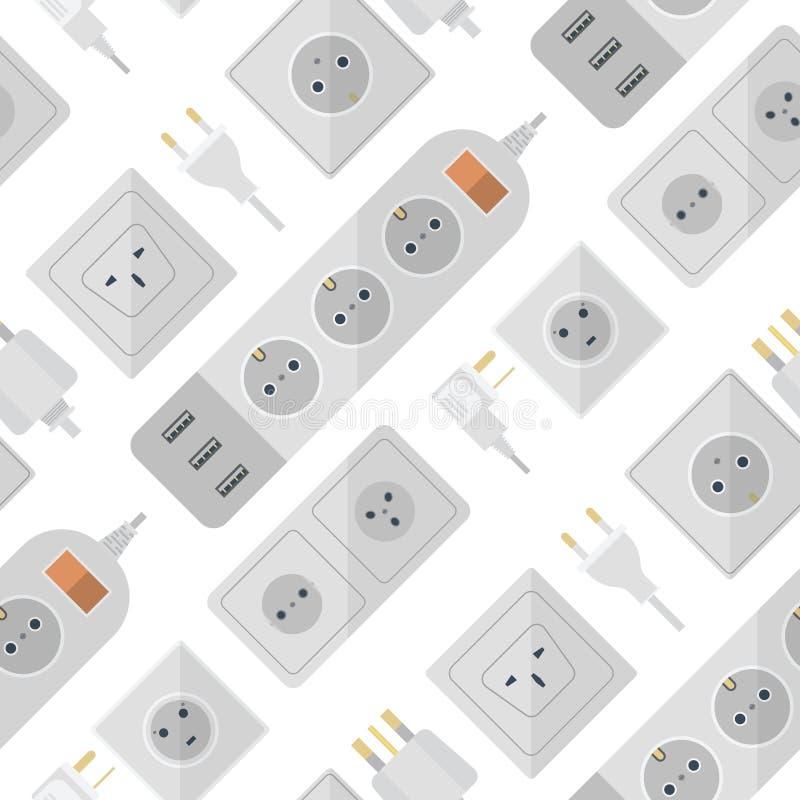 Le spine elettriche impilano l'europeo elettrico delle spine degli sbocchi dell'incavo di energia dell'illustrazione dello sbocco royalty illustrazione gratis