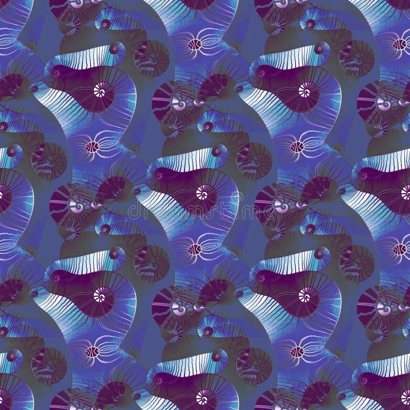 Le spirali complesse regolari modellano il bianco verde scuro porpora blu illustrazione vettoriale