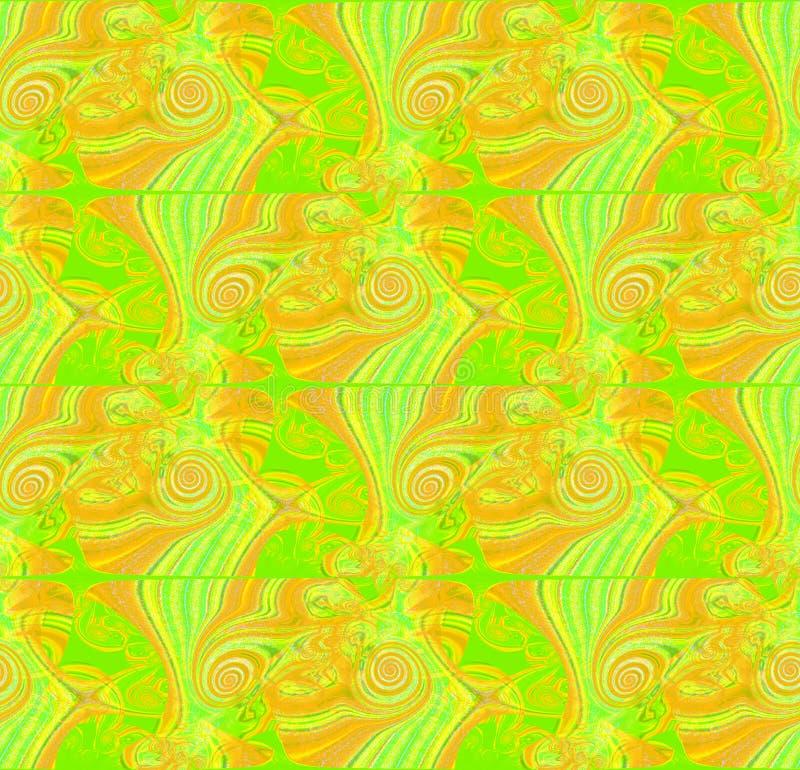 Le spirali complesse regolari modellano verticalmente verde intenso ocraceo giallo royalty illustrazione gratis