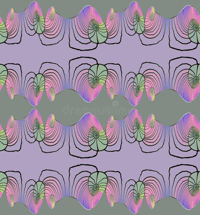 Le spirali modellano senza cuciture verde viola rosa porpora illustrazione vettoriale