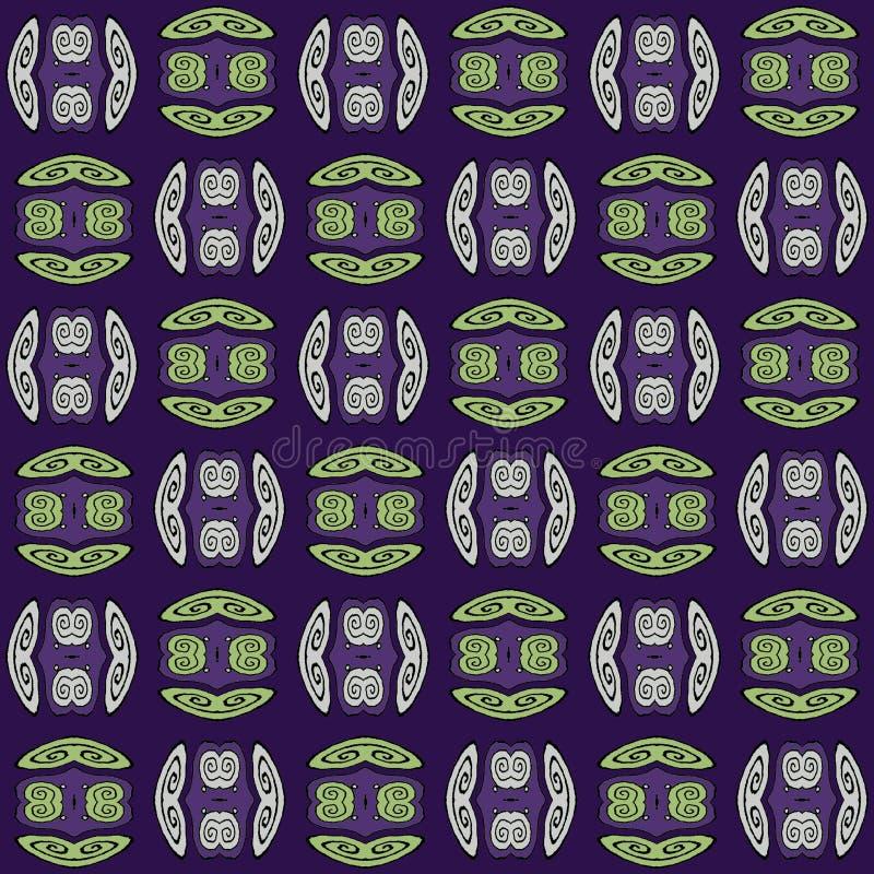 Le spirali regolari modellano verde e grigio con i profili neri sulla porpora spostata illustrazione vettoriale