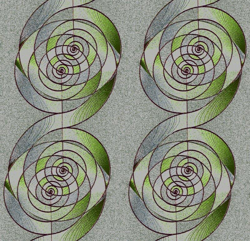Le spirali regolari modellano verticalmente il gray d'argento ed il verde con i profili di marrone scuro royalty illustrazione gratis