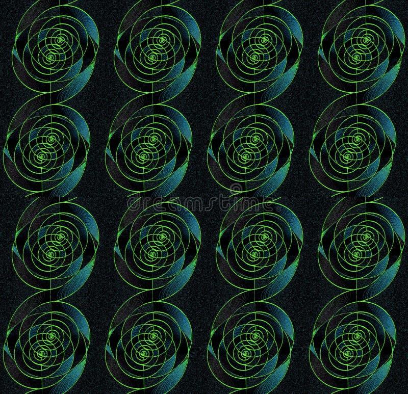 Le spirali regolari senza cuciture modellano verticalmente il nero verde del turchese illustrazione vettoriale