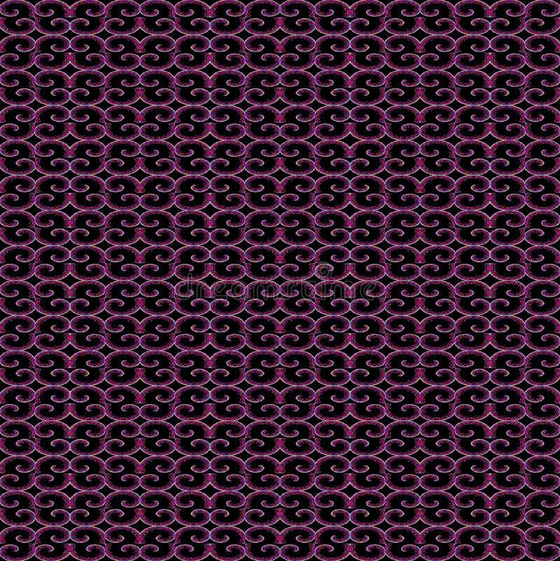 Le spirali senza cuciture regolari modellano il nero magenta porpora con i profili leggeri illustrazione vettoriale