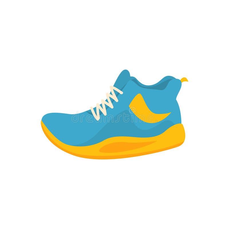 Le sport bleu et jaune chausse l'icône dans le style plat illustration libre de droits