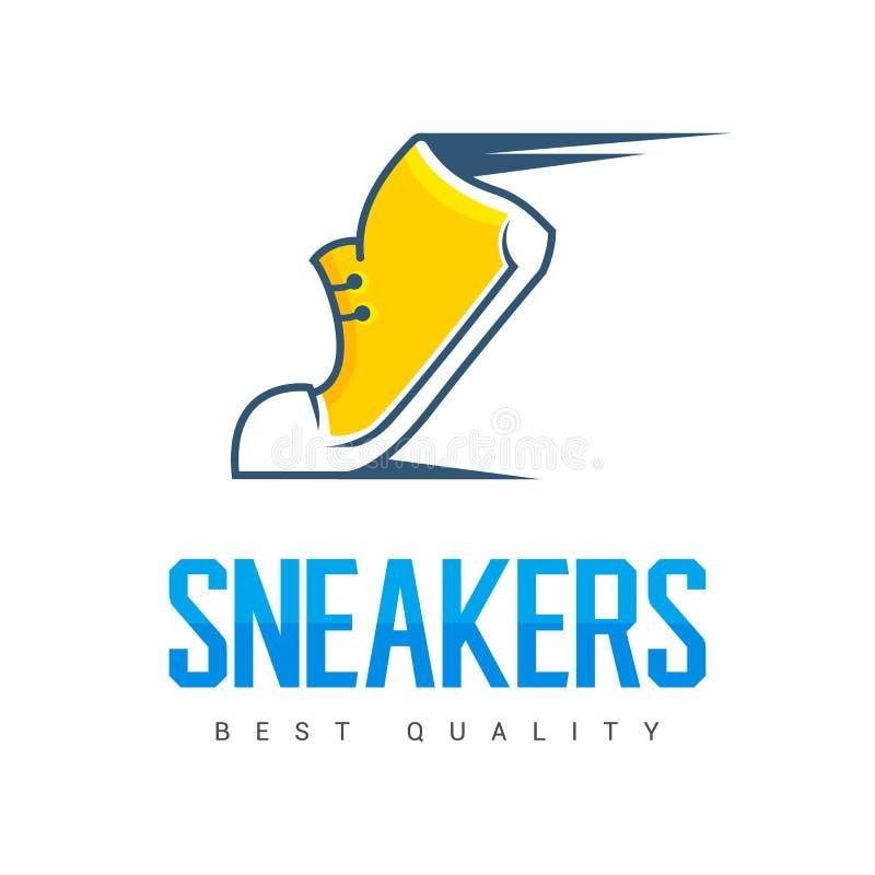 Le sport courant expédiant chaussent le symbole, l'icône ou le logo étiquette Espadrilles Conception créatrice Illustration de ve illustration de vecteur