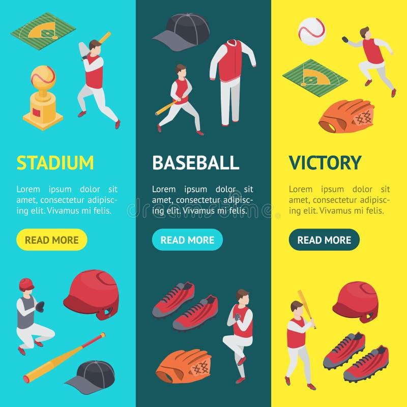 Le sport de jeu de baseball signe 3d la bannière Vecrtical a placé la vue isométrique Vecteur illustration de vecteur