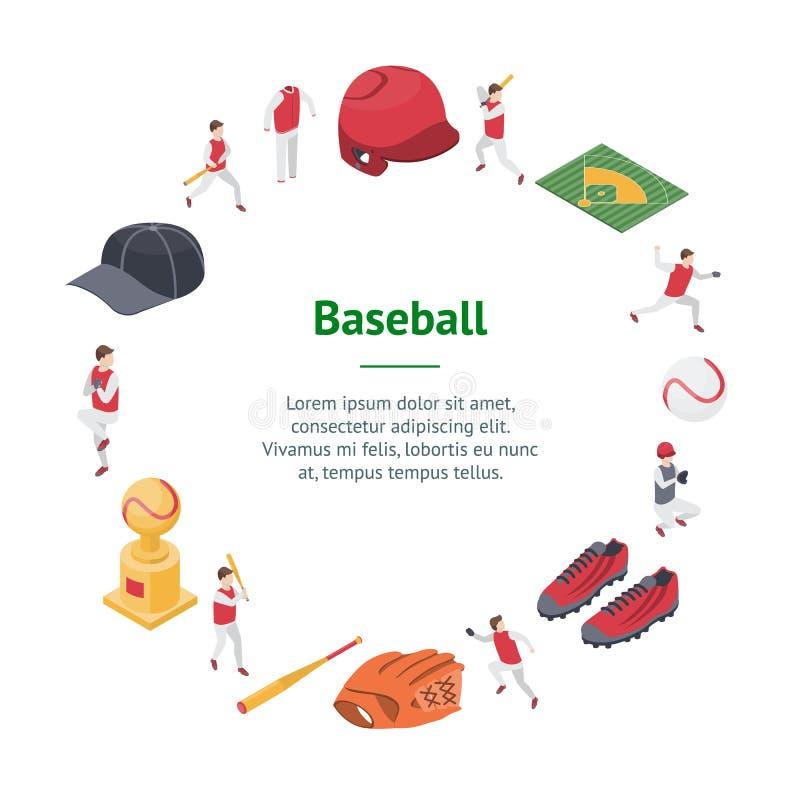 Le sport de jeu de baseball signe la vue isométrique de cercle de carte de la bannière 3d Vecteur illustration de vecteur