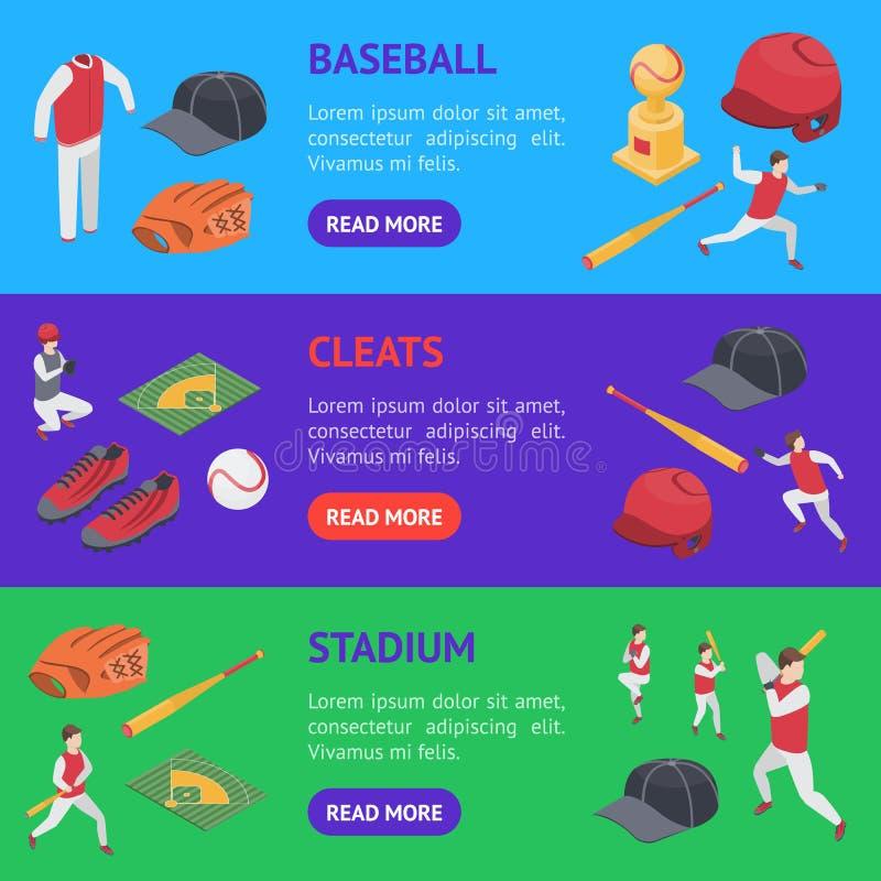 Le sport de jeu de baseball signe la vue isométrique d'ensemble horizontal de la bannière 3d Vecteur illustration libre de droits