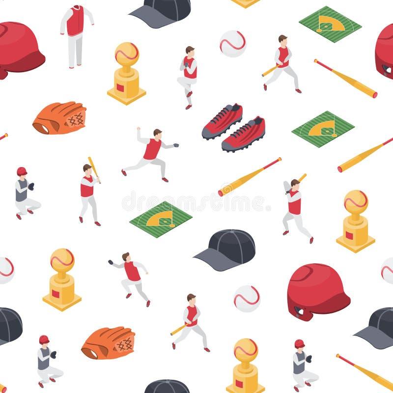 Le sport de jeu de baseball signe la vue isométrique de fond sans couture du modèle 3d Vecteur illustration libre de droits