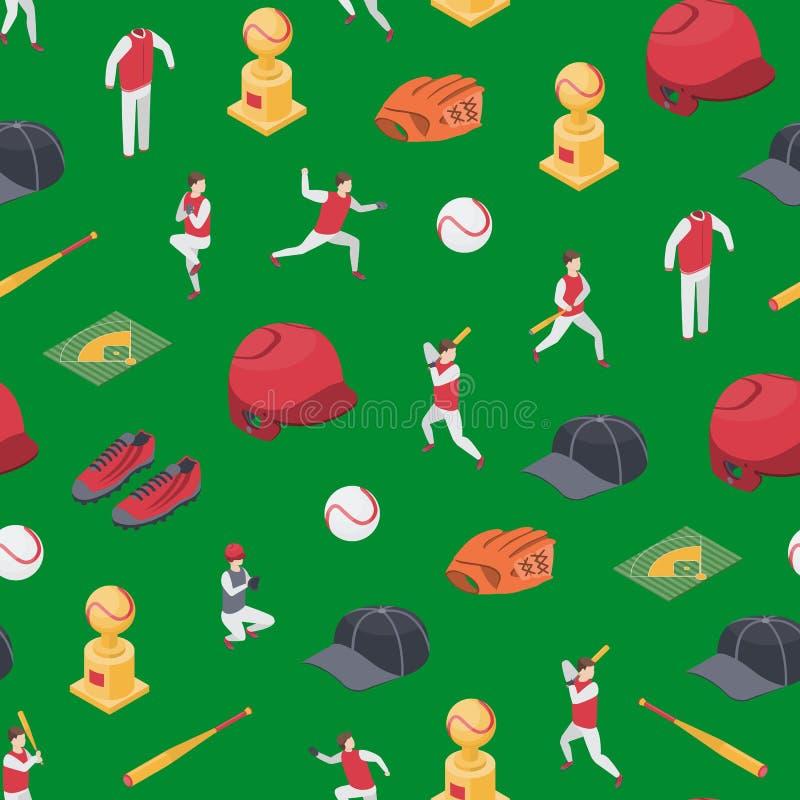 Le sport de jeu de baseball signe la vue isom?trique de fond sans couture du mod?le 3d Vecteur illustration stock