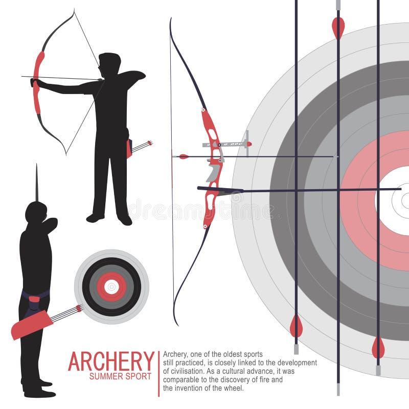 Le sport de tir à l'arc silhouette le vecteur d'illustration illustration stock