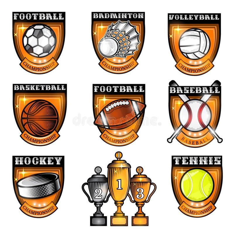 Le sport a placé la boule d'équipements, le volant, galet au centre du bouclier avec le nom du jeu Logo de sport d'isolement sur  illustration stock