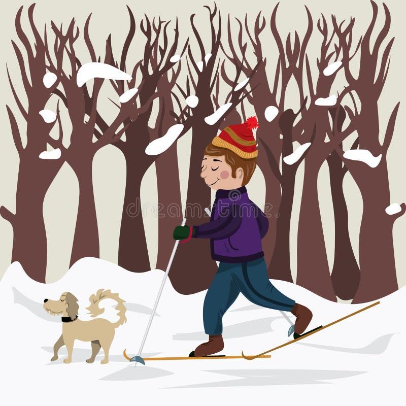 Le sportif sur des skis va chercher une commande sur un bois Ramassage de l'hiver illustration libre de droits
