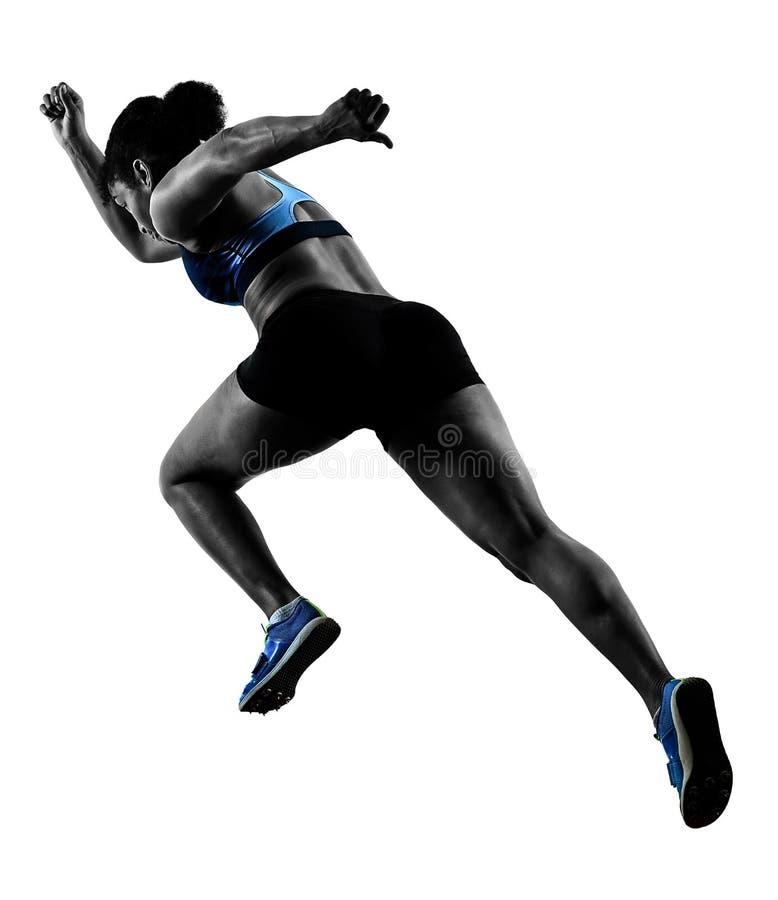 Le sprinter courant de coureur africain sprintant la femme a isolé b blanc image stock