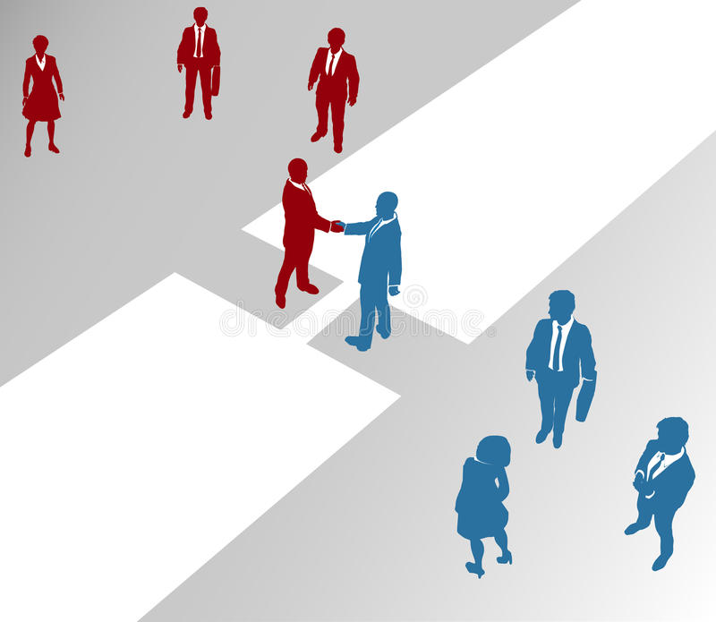 Le squadre dell'azienda di affari uniscono il ponticello 2 di fusione illustrazione vettoriale