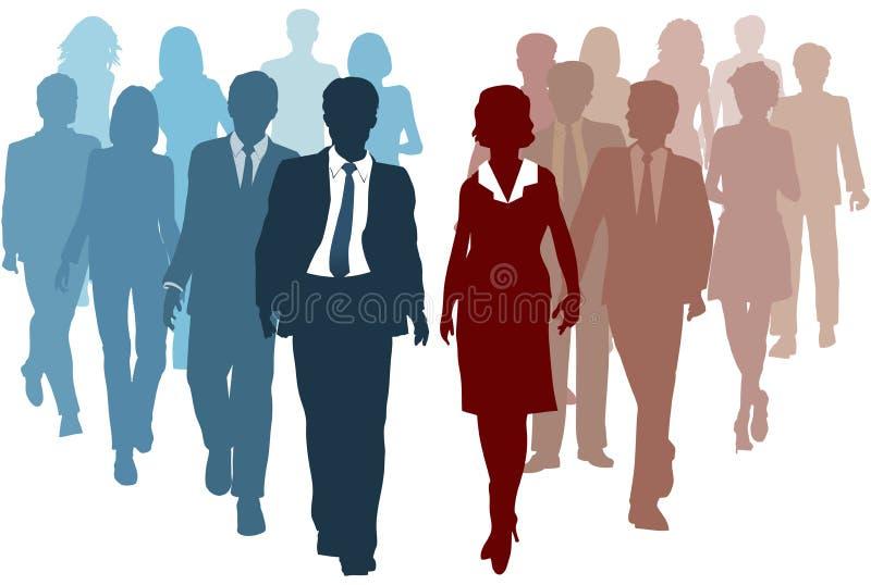 Le squadre di affari uniscono la concorrenza della soluzione delle risorse royalty illustrazione gratis