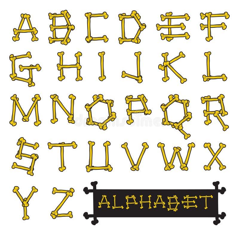 Le squelette désosse l'illustration de vecteur d'alphabet illustration libre de droits