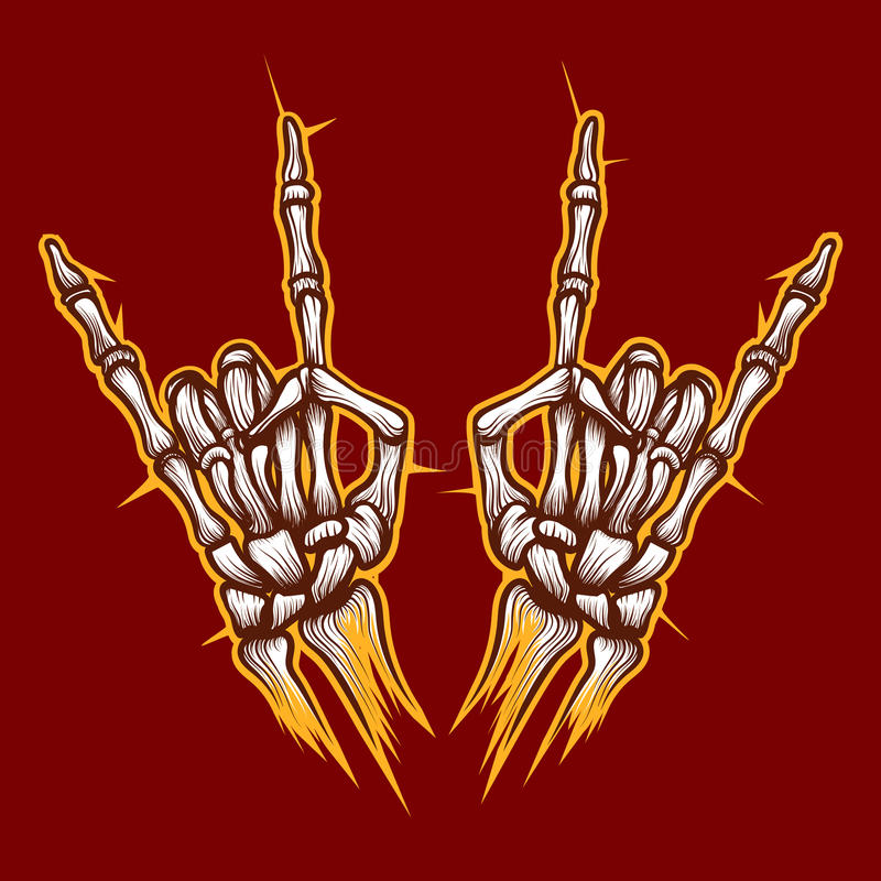 Le squelette désosse le signe de musique rock de mains illustration de vecteur