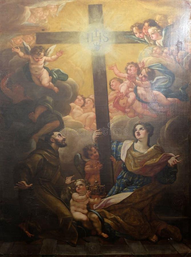 Le St Francis d'Assisi et le St Hélène adorent la croix vraie image libre de droits