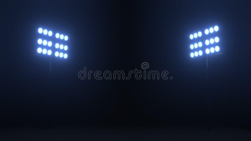 Le stade de football allume des réflecteurs sur le fond noir image libre de droits